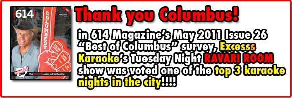 Excess Karaoke - voted one of Columbus' BEST KARAOKE nights by 614 readers!